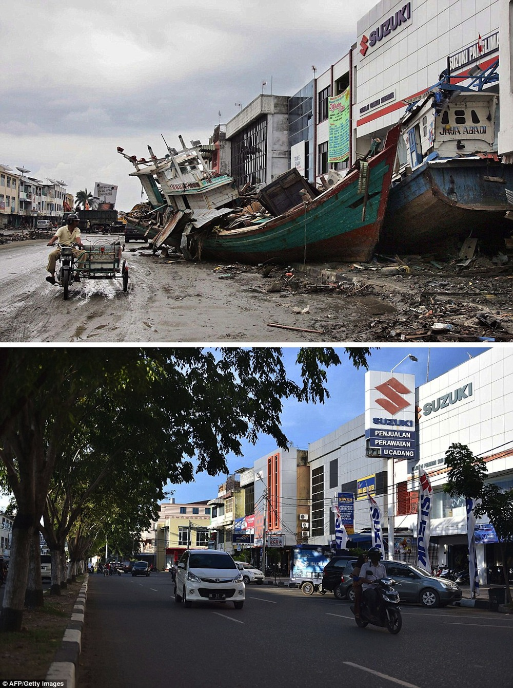 10 Amazing Before And After Shots Of The 2004 Tsunami In Aceh Wowshack
